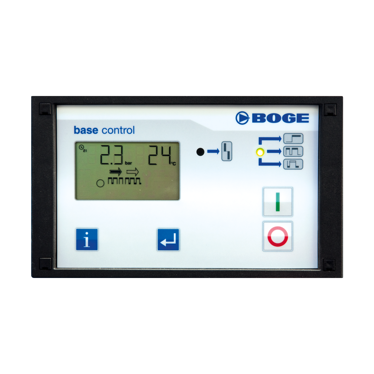 The compressor is controlled by the FOCUS control system which includes an integrated efficiency display as well as additional monitoring and control options. FOCUS is programmed as a master controller and can control up to three machines.