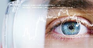 Menschliches Auge mit Datenbrille