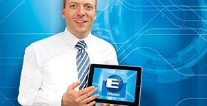 Imagen de una pantalla con el logotipo de eficiencia de BOGE Compresores